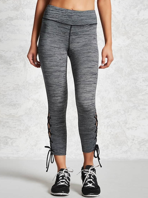 FOREVER 21 Grey Melange Tights with Tie-Ups