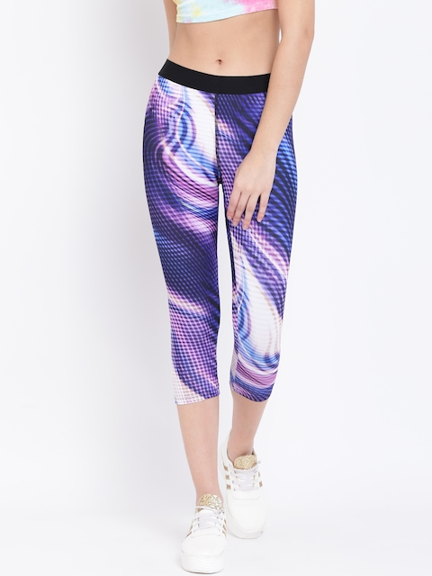 FOREVER 21 Blue & Black Printed Tights