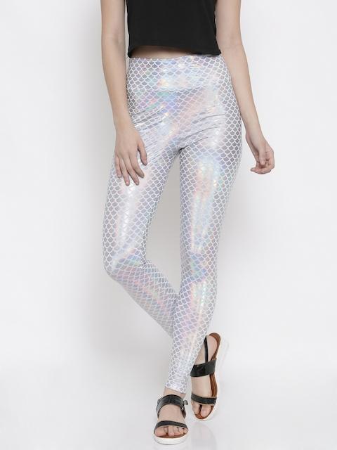 FOREVER 21 Silver-Coloured & White Printed Leggings