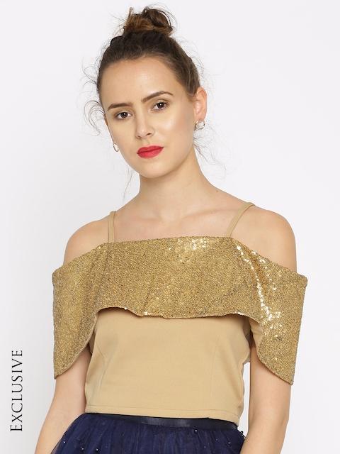 SASSAFRAS Women Gold-Toned Sequinned Cold-Shoulder Top