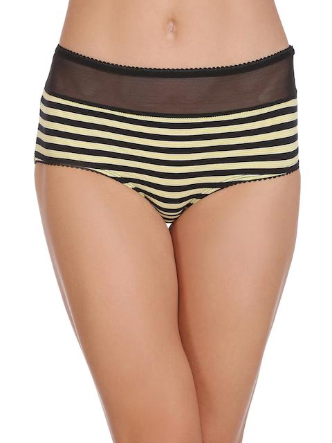 Clovia Women Black & Yellow Striped Hipster Briefs PN1781P13