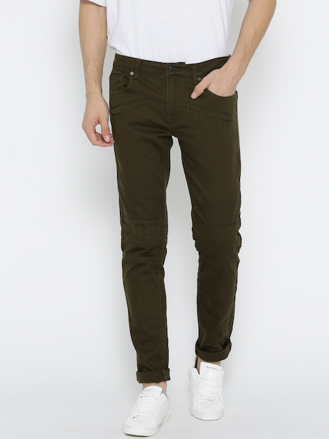 FOREVER 21 Men Olive Green Mid-Rise Clean Look Stretchable Jeans
