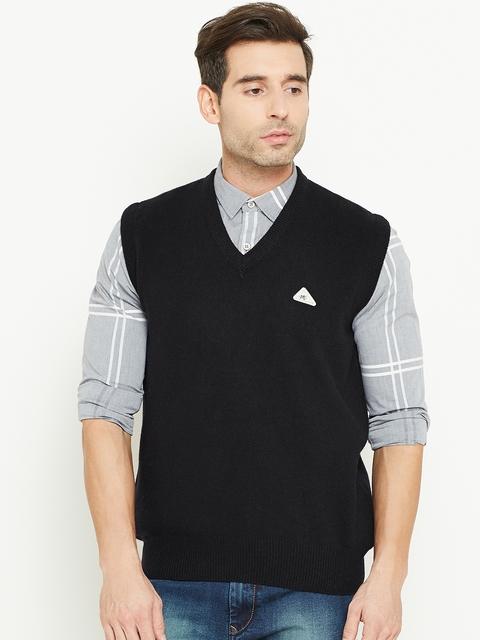 Monte Carlo Men Black Solid Sleeveless Sweater