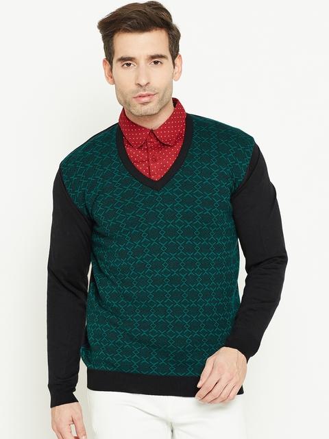 Monte Carlo Men Green & Black Woollen Self-Design Sweater