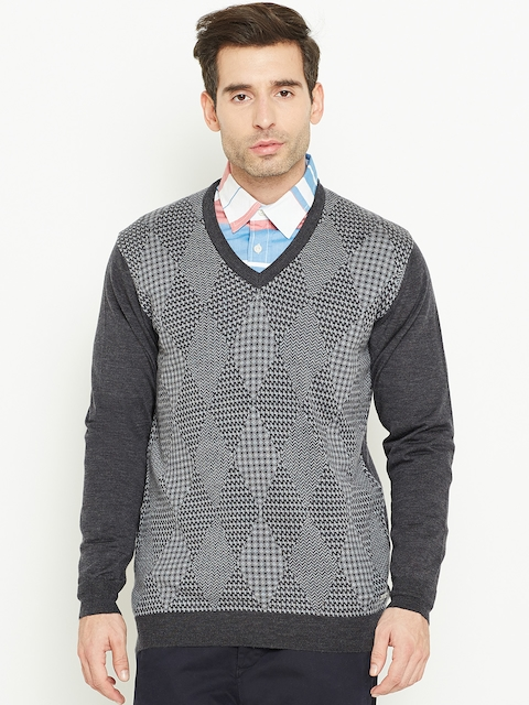 Monte Carlo Men Grey Melange Woollen Self-Design Sweater