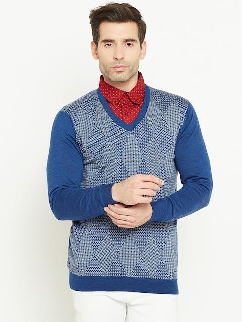 Monte Carlo Men Blue & Grey Melange Woollen Self-Design Sweater