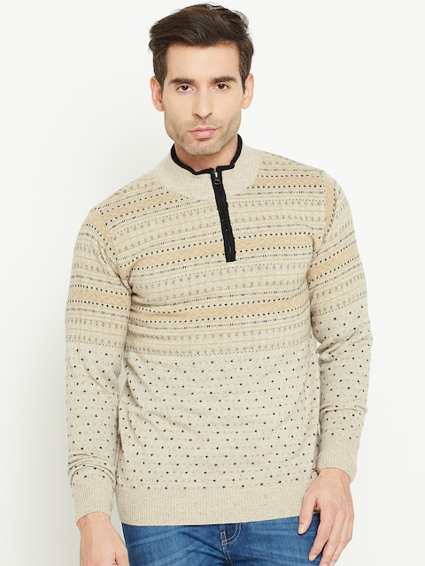 Monte Carlo Men Beige Self-Design Sweater