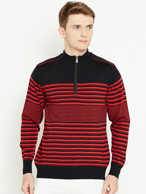 Monte Carlo Men Black & Red Striped Sweater