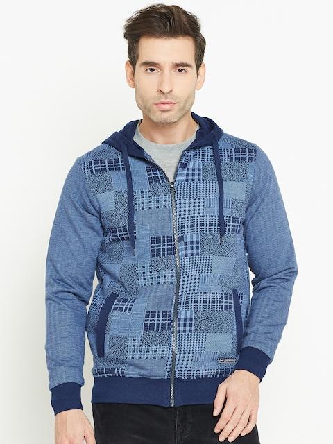 Monte Carlo Men Blue Self-Design Hooded Sweatshirt