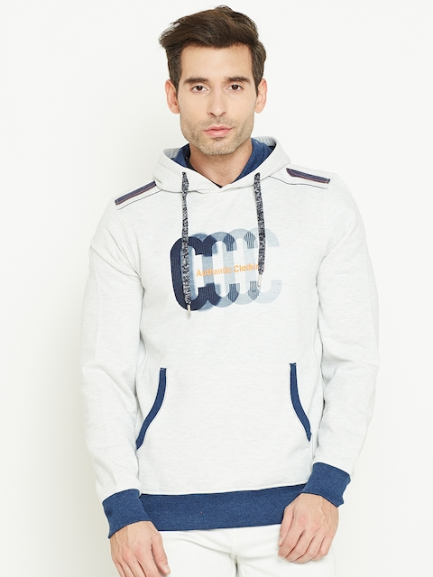Monte Carlo Men Off-White Printed Hooded Sweatshirt