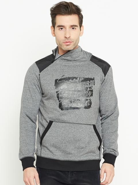 Monte Carlo Men Grey Melange & Black Printed Hooded Sweatshirt