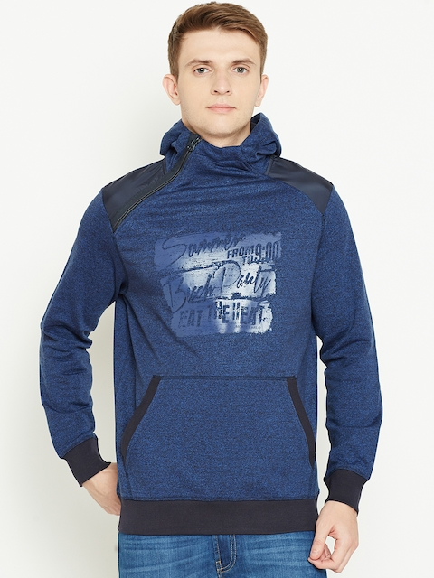 Monte Carlo Men Blue Printed Hooded Sweatshirt