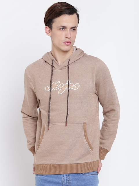 Monte Carlo Men Beige Self-Design Hooded Sweatshirt