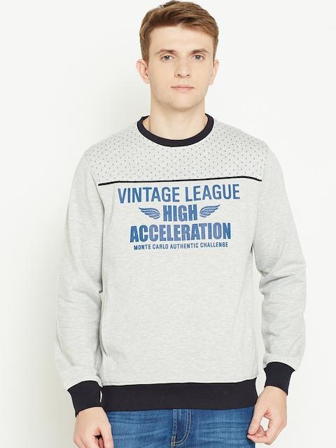 Monte Carlo Men Grey Melange Printed Sweatshirt