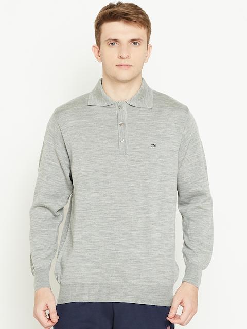 Monte Carlo Men Grey Melange Solid Woollen Sweater