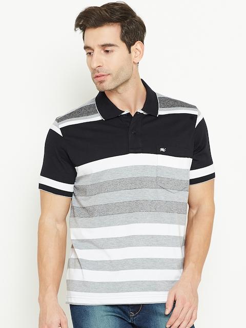 Monte Carlo Men Black & Grey Striped Polo Collar T-shirt