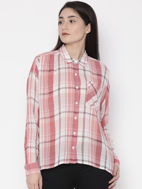 FOREVER 21 Women Peach & White Regular Fit Checked Casual Shirt
