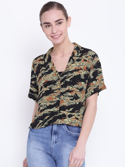 FOREVER 21 Women Black & Olive Green Regular Fit Printed Casual Shirt
