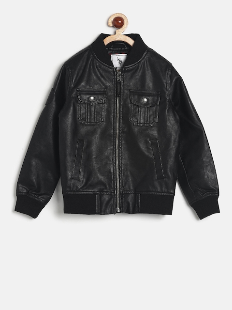 U.S. Polo Assn. Kids Boys Black Solid Biker Jacket