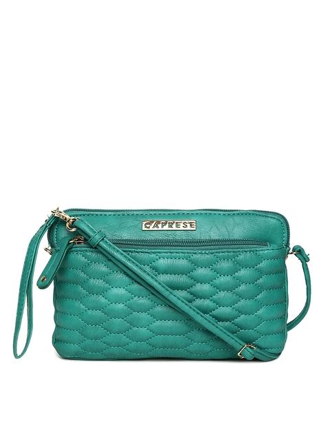 Caprese Green Textured Sling Bag