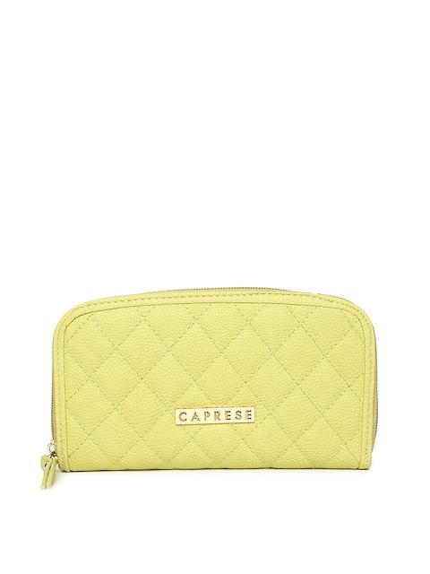 Caprese Women Yellow Solid Zip Around Wallet