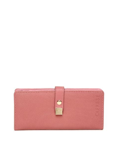 Caprese Women Pink Solid Two Fold Wallet