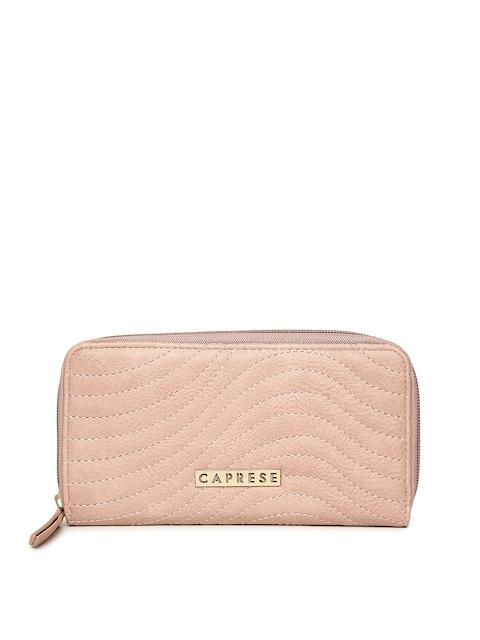 Caprese Women Pink Solid Zip Around Wallet