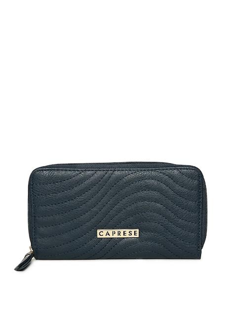 Caprese Women Navy Blue Solid Zip Around Wallet