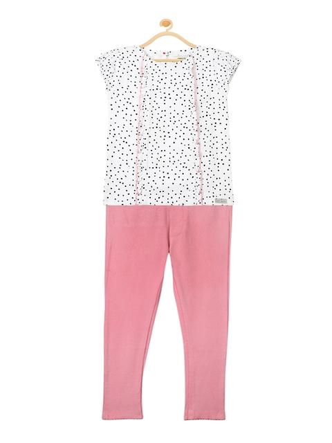 Cherry Crumble Girls White & Pink Printed Clothing Set