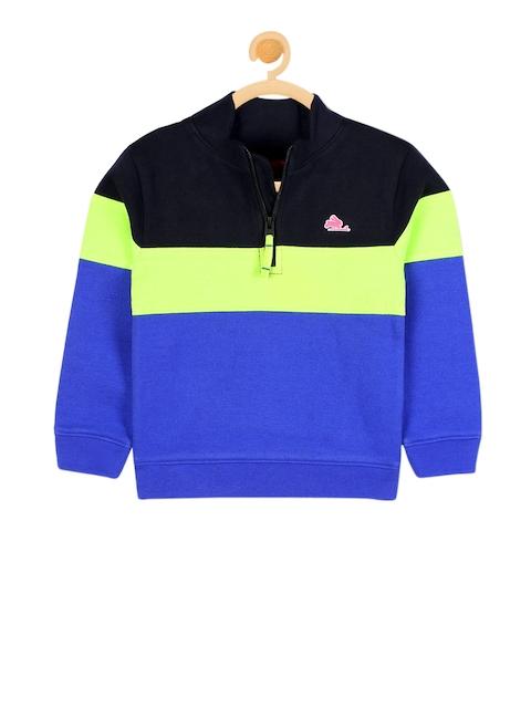 Cherry Crumble Unisex Blue & Black Colourblocked Sweatshirt