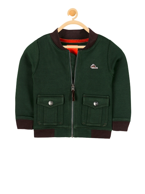 Cherry Crumble Unisex Green Solid Open Front Jacket