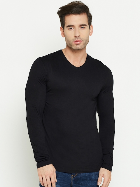 Blackberrys Men Black Solid V-Neck T-shirt