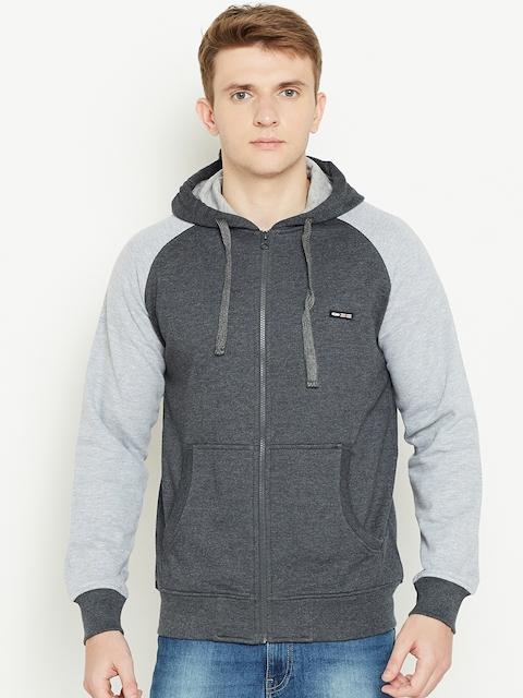Cloak & Decker by Monte Carlo Men Charcoal Grey Solid Hooded Sweatshirt