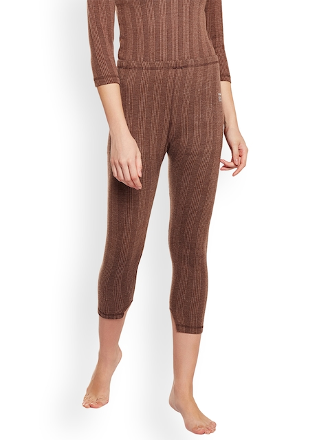 VIMAL Women Coffee Brown Self Design Thermal Leggings