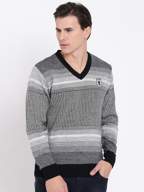 Duke Men Black & Grey Self-Design Woollen Sweater