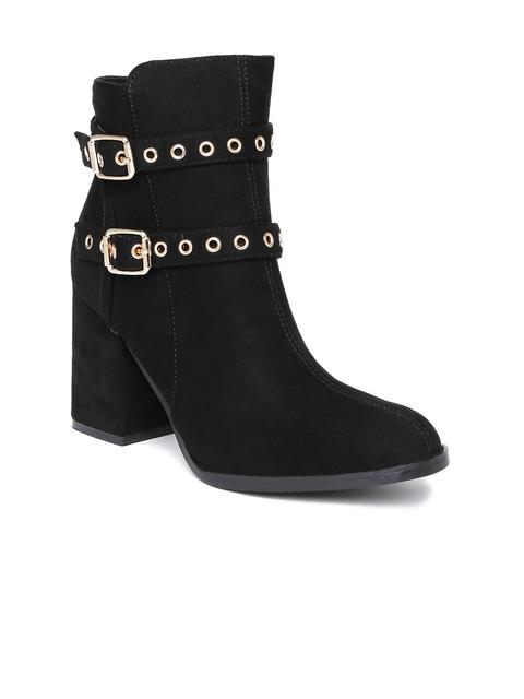 Tresmode Women Black Suede Heeled Boots