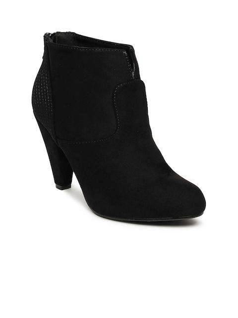 Tresmode Women Black Solid Heeled Boots