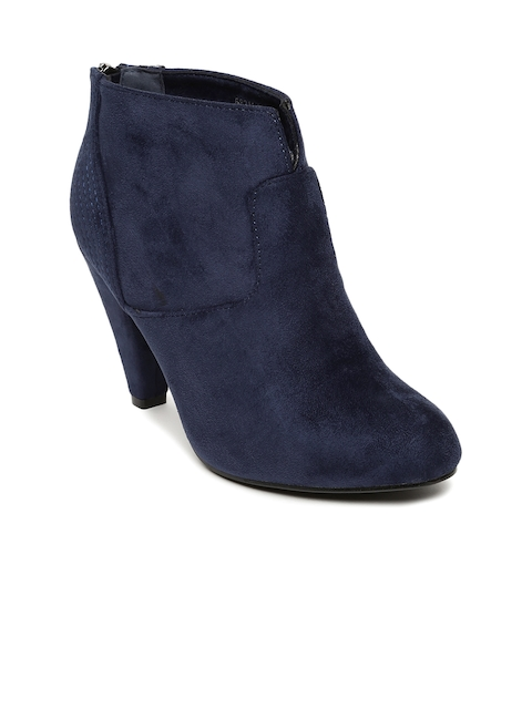 Tresmode Women Navy Blue Solid Heeled Boots
