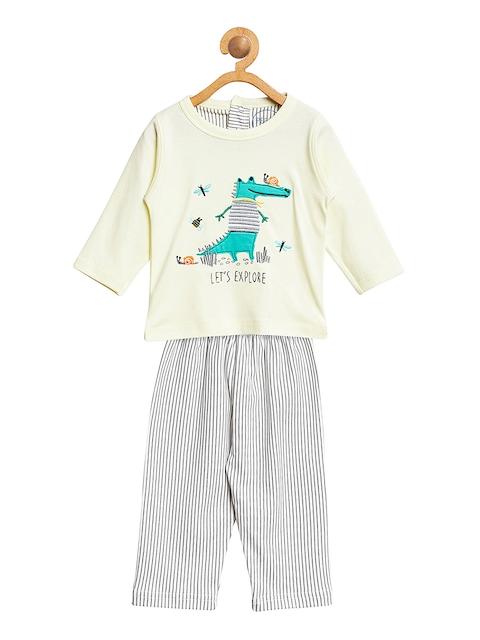 Pepito Girls Yellow & Grey Printed Clothing Set