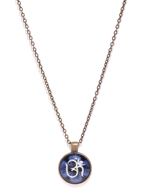 Golden Peacock Antique Gold-Toned & Blue Om Pendant with Chain