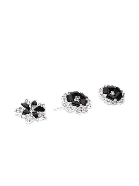 Golden Peacock Women Set of 3 Black Silver-Plated Stone-Studded Brooches