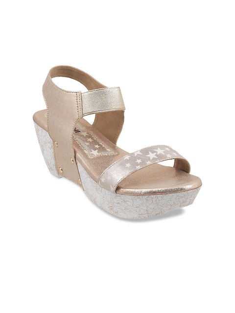 Mochi Women Gold-Toned Solid Sandals