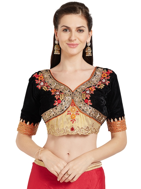 RIYA Black & Cream-Coloured Embroidered Silk Saree Blouse
