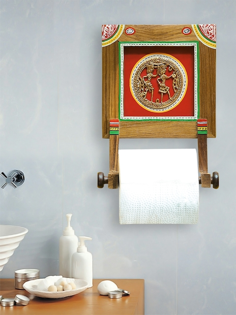 ExclusiveLane Brass-y On Wood Dhokra Tissue Roll Holder In Sheesham Wood