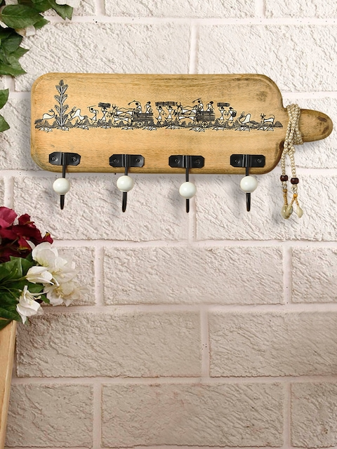 ExclusiveLane Whitwewood Canvas Cloth Hanger With Warli Hand-Painting & Jute Dori
