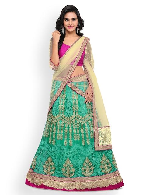 Triveni Green & Magenta Semi-Stitched Lehenga Choli with Dupatta
