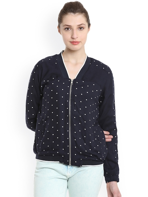 United Colors of Benetton Women Blue Printed Open Front Jacket
