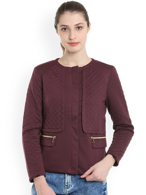 United Colors of Benetton Women Maroon Solid Quilted Jacket