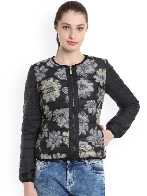 United Colors of Benetton Women Black Printed Quilted Jacket