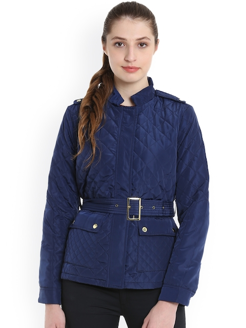 United Colors of Benetton Women Blue Solid Quilted Jacket